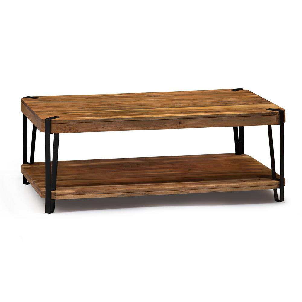 Alaterre furniture ryegate natural live edge natural solid wood with metal coffee table