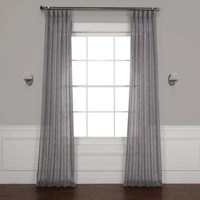 Gravel Grey Solid Faux Linen Sheer Curtain - 50 in. W x 84 in. L
