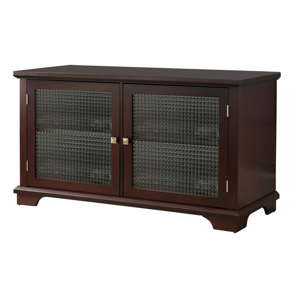 Kings brand furniture walnut finish wood glass door storage console tv stand 3284e the home depot