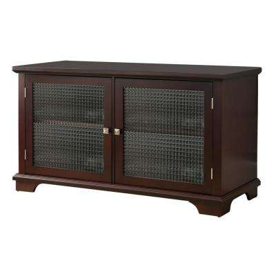 Walnut Finish Wood Glass Door Storage Console / TV Stand