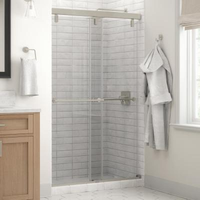 Everly 48 in. x 71-1/2 in. Mod Semi-Frameless Sliding Shower Door in Nickel and 1/4 in. (6mm) Clear Glass