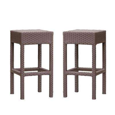 Yvonne Backless Wicker Outdoor Bar Stool (2-Pack)
