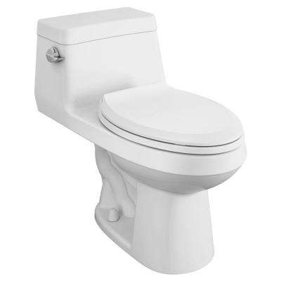 Colony 1-Piece 1.28 GPF Single Flush Elongated Toilet in White Seat Included