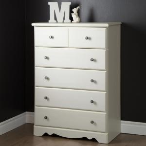 Country Poetry 5-Drawer White Wash Chest