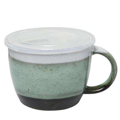 Souper Duper 29 oz. Turquoise Soup Cup with Vented Lid