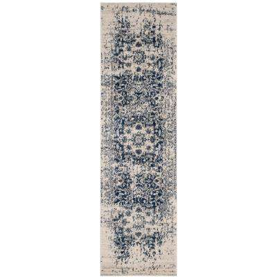 Madison Cream/Navy 2 ft. 3 in. x 20 ft. Runner Rug