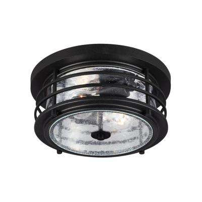 Sauganash 2-Light Outdoor Black Ceiling Flushmount with Clear Seeded Glass