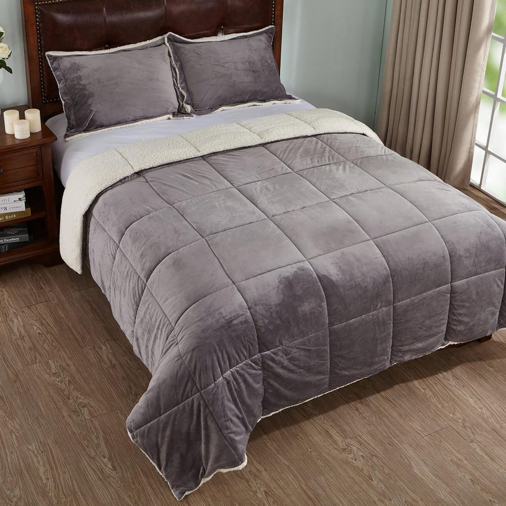 Reversible Sherpa Grey Queen Down Alternative Comforter Set