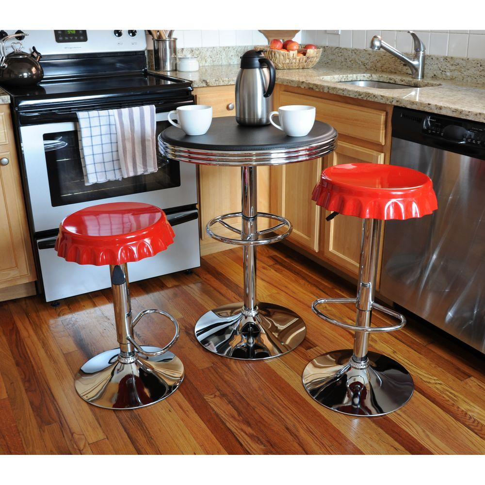 AmeriHome Retro Style Soda Cap Adjustable Height Multi Colored Bar Stool