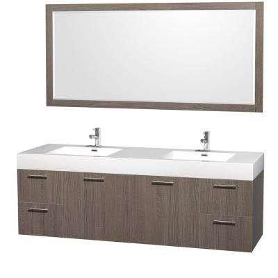Luxury 72 in. W x 21.75 in. D Vanity in Gray Oak with Vanity Top in White with Gray Oak Basin