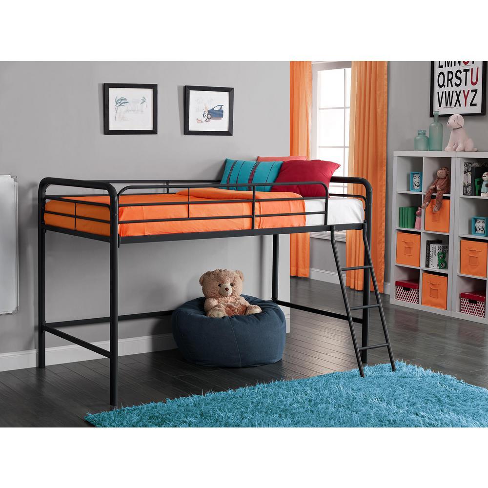 Twin Metal Kids Loft Bed, Black