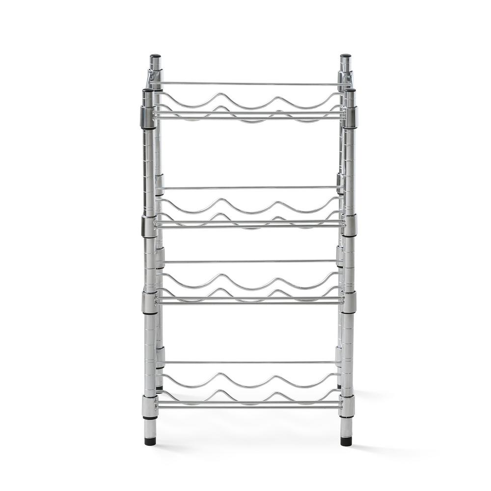 Furinno Wayar 12 Bottle Silver Chrome 4 Tier Wine Rack Ws60334 The