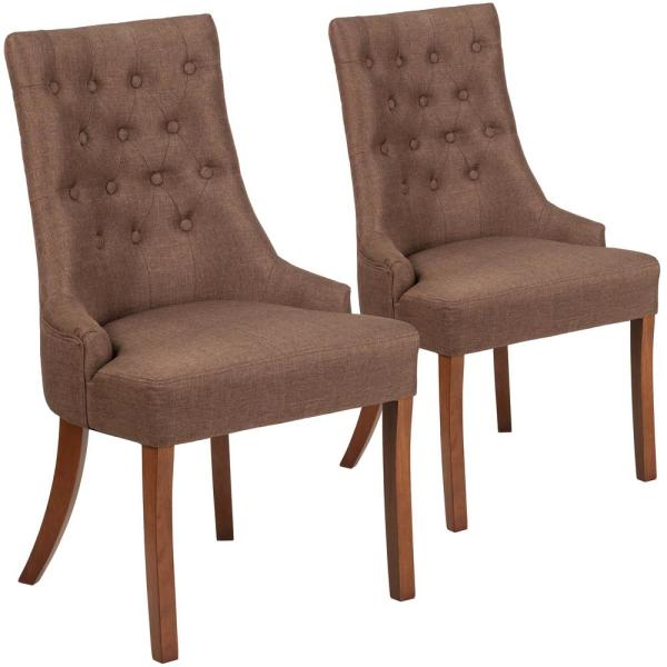 Carnegy Avenue Brown Fabric Fabric Side Chair (Set of 2) CGA-QY-225939-BR-HD