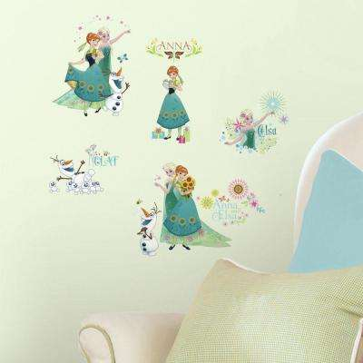5 in. W x 11.5 in. H Disney Frozen Fever 19-Piece Peel and Stick Wall Decal
