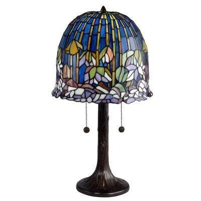 Brighton 21 in. Antique Bronze Table Lamp with Hand Rolled Art Glass