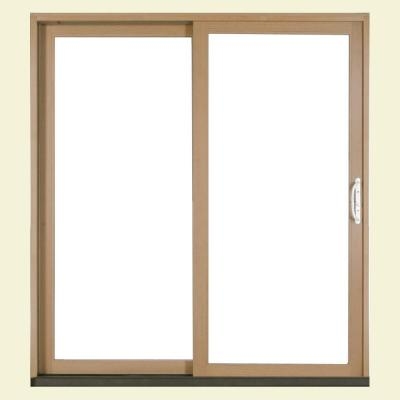 72 in. X 80 in. W-2500 White Clad Wood Left-Hand Sliding Patio Door with LowE Glass