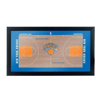 New York Knicks Official NBA Court 15 in. x 26 in. Black Framed Plaque