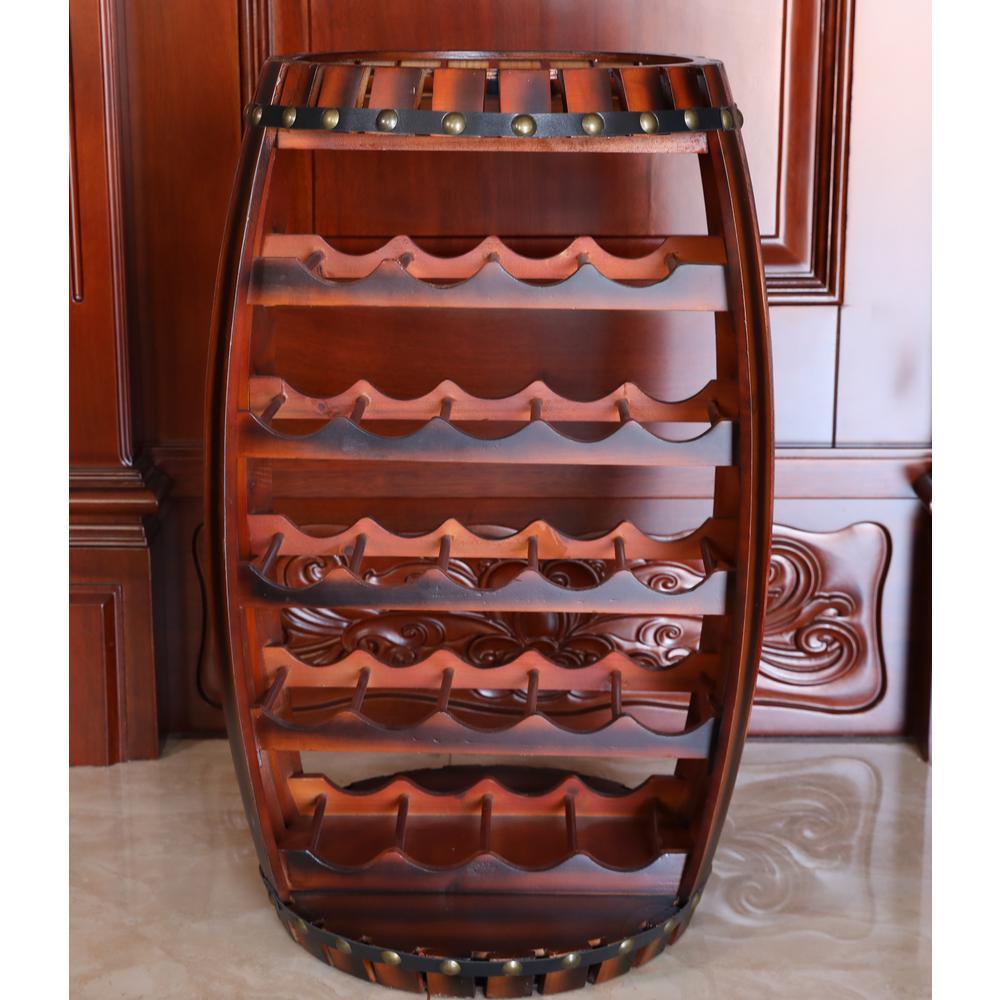 Vintiquewise Large Wooden Barrel Shaped 23-Bottle Brown Cherry Wine Rack