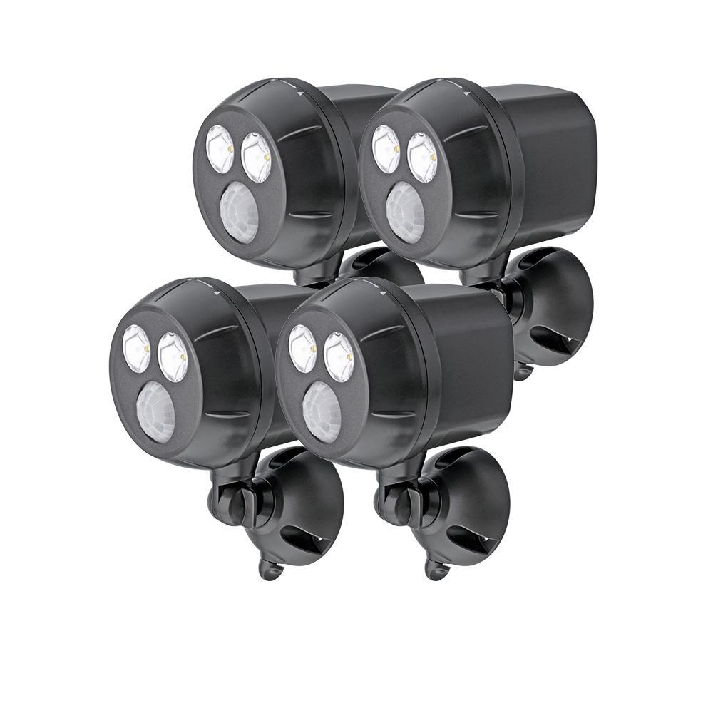 Wireless 40-Watt 120-Degree Dark Brown Motion Activated Outdoor Integrated LED UltraBright Spot Light (4-Pack)