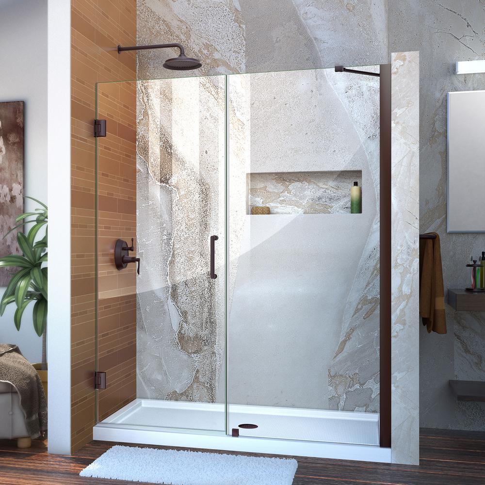Unidoor 59 to 60 in. x 72 in. Semi-Framed Hinged Shower Door in Oil Rubbed Bronze