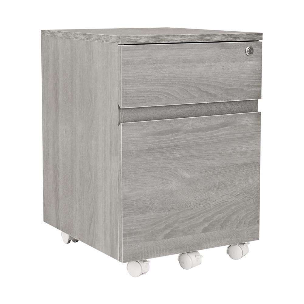 Techni Mobili Grey Rolling 2-Drawer Vertical Filing Cabinet