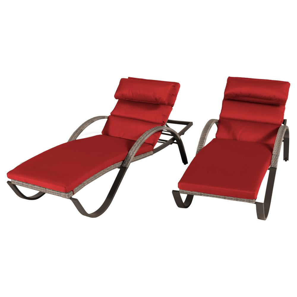 Cannes Patio Chaise Lounge with Cantina Red Cushions (2-Pack)