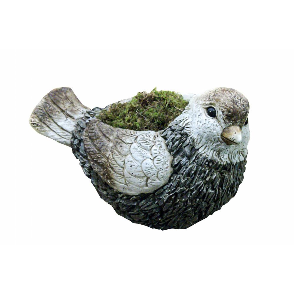 11 in. Magnesia Cement Bird Garden Planter