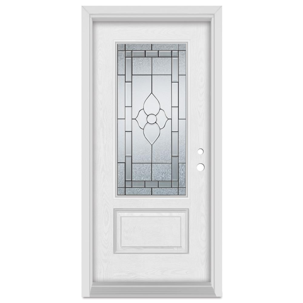 Stanley Doors 33.375 in. x 83 in. Traditional Left-Hand Patina Finished Fiberglass Oak Woodgrain Prehung Front Door Brickmould