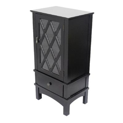 Shelly Assembled 18 in. x 18 in. x 13 in. Black Wood Clear Glass Accent Storage Cabinet with a Door