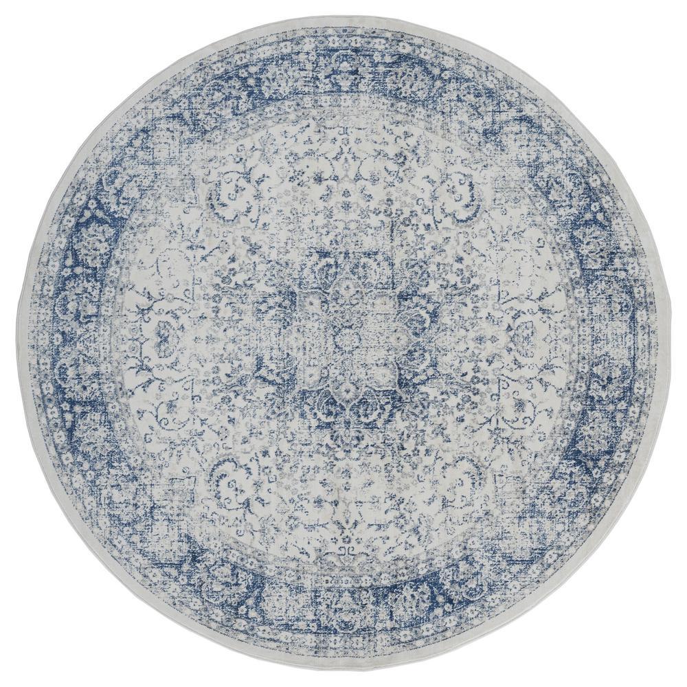Clairmont Larnaca Denim Blue 7 ft. 10 in. x 7 ft. 10 in. Round Rug