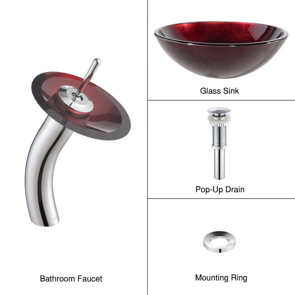 KRAUS Irruption Glass Vessel Sink In Red With Single Hole Single Handle  Low Arc