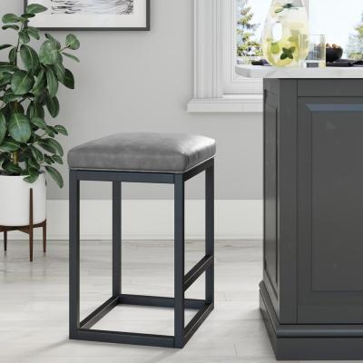 Nelson 24 in. Gray Leather Cushion and Black Stainless Steel Frame Metal Bar Stool