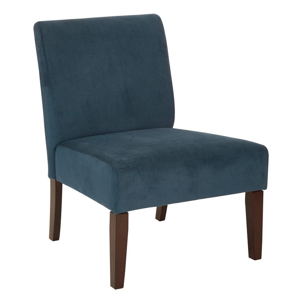 Ave Six Laguna Chair In Azure Velvet Fabric With Dark Espresso Legs