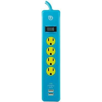 4 ft. 4-Outlet and 2 2.1 Amp USB Port Power Strip, Blue