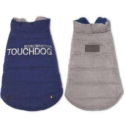 X-Large Blue and Grey Waggin Swag Reversible Insulated Pet Coat