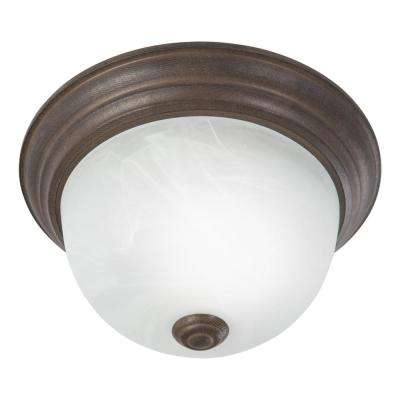 Flushmount Lighting Series 1-Light Dark Brown Flushmount with Alabaster Glass Shade