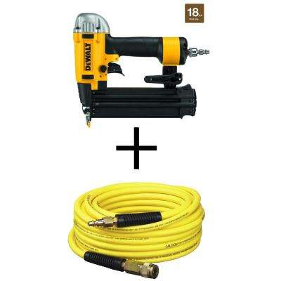 18-Gauge Pneumatic Brad Nailer with Bonus 50 ft. x 1/4 in. Air Hose