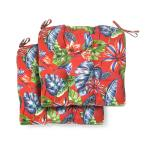 19 in. x 18 in. x 4.5 in. Ruby Tropical Square Tufted Outdoor Seat Cushion (2 Pack)