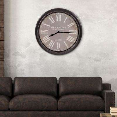 Glenmont Distressed Black and Grey Wall Clock