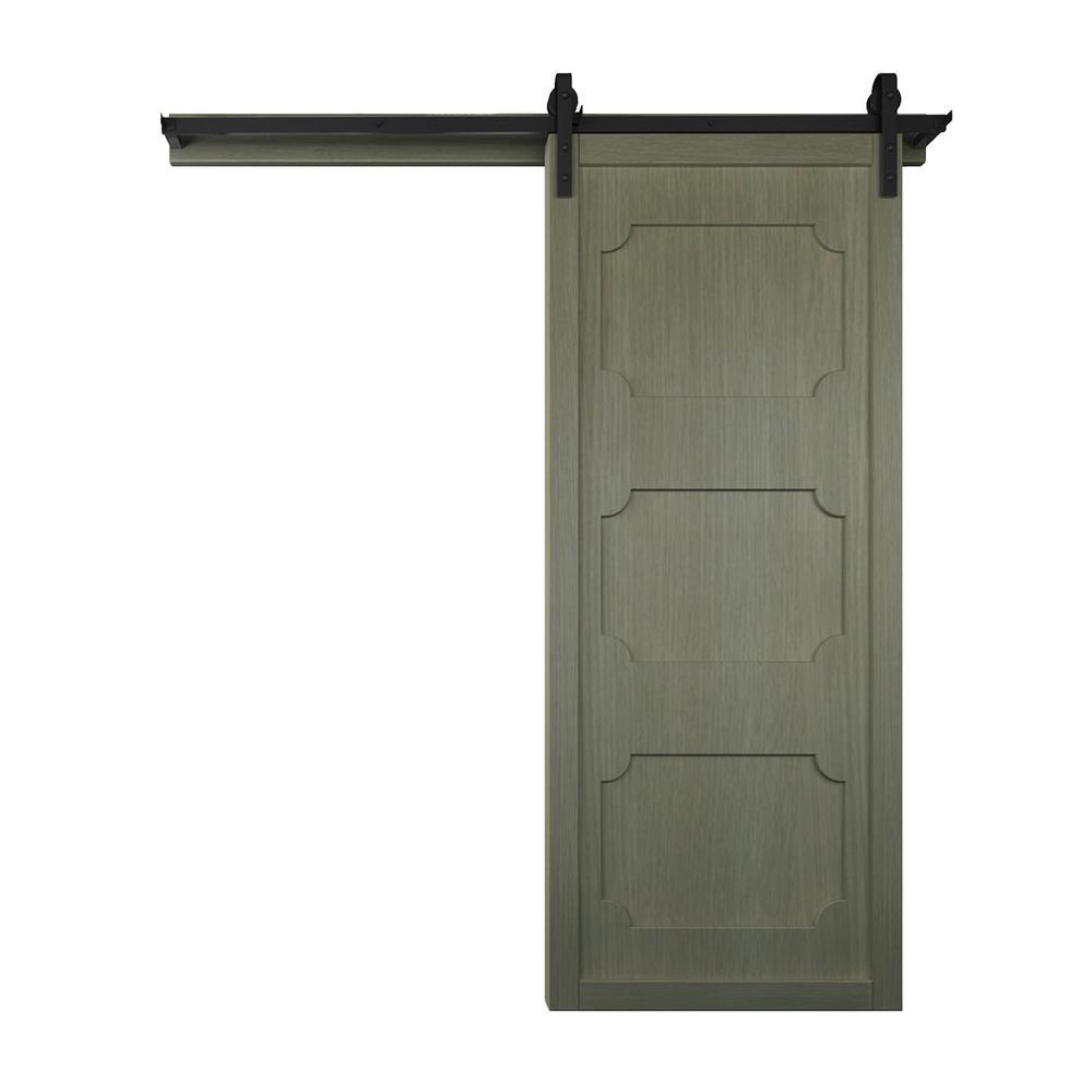 42 in. x 84 in. The Harlow III Gauntlet Wood Sliding Barn Door with Hardware Kit