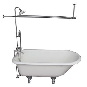 Barclay Products 5 ft. Cast Iron Ball and Claw Feet Roll Top Tub in White with Polished Chrome Accessories by Barclay Products