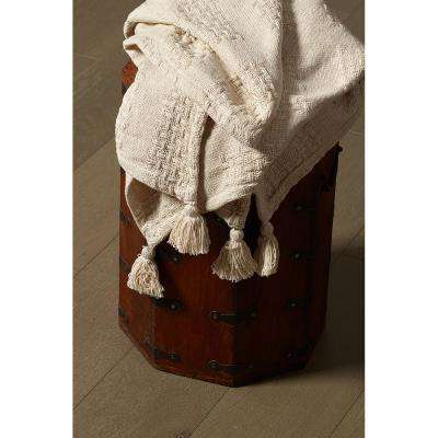 Beige Check Nat with Tassel Throw