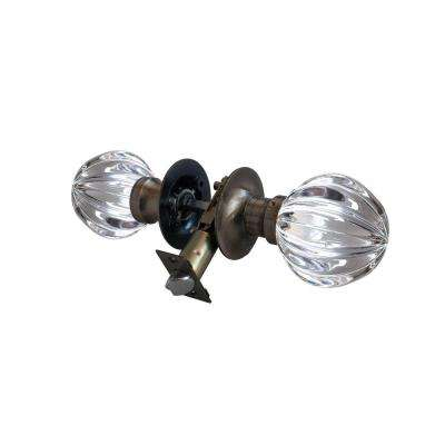Wave Crystal Antique Brass Passive Door Knob with LED Mixing Lighting Touch Activated