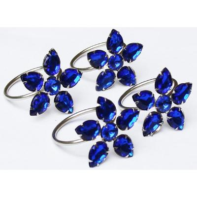 2 in. x 1.5 in. Crystal Blue Flower Napkin Rings (Set of 4), Metal