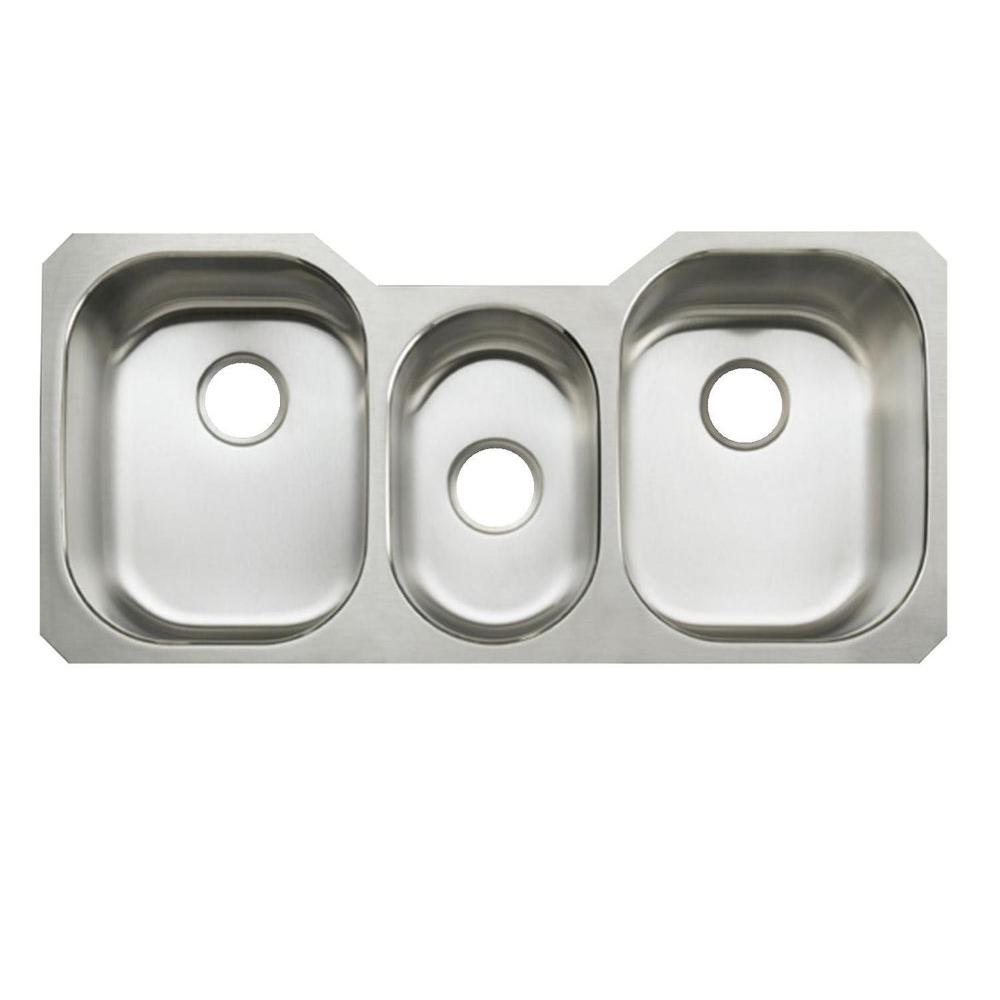 kohler undertone undercounter stainless steel 41 625 in  0 hole triple basin kitchen sink kohler undertone undercounter stainless steel 41 625 in  0 hole      rh   homedepot com