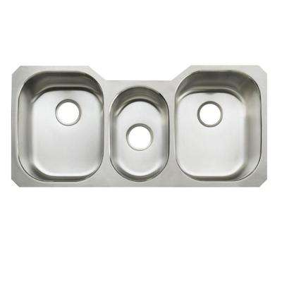 Undertone Undercounter Stainless Steel 42 in. Triple Bowl Kitchen Sink