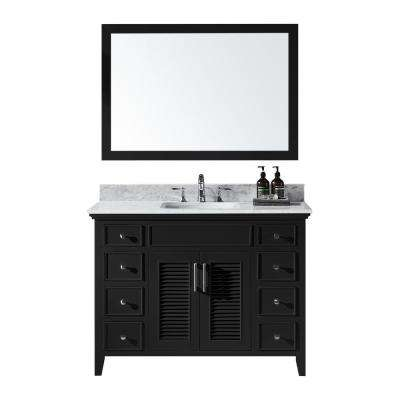 Elise 48 in. W x 22 in. D x 34.21 in. H Bath Vanity in Espresso w/ Marble Vanity Top in White w/ White Basin and Mirror