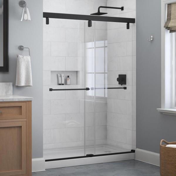 Everly 60 in. x 71-1/2 in. Frameless Mod Soft-Close Sliding Shower Door in Matte Black with 1/4 in. (6 mm) Clear Glass