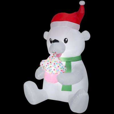3 ft. W x 4 ft. D x 6 ft. H Animated Inflatable Polar Bear with Cupcake