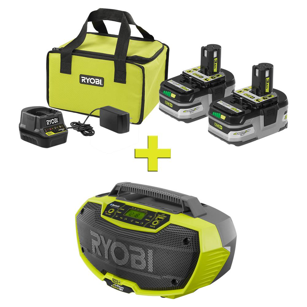 RYOBI 18-Volt ONE+ LITHIUM+ HP 3.0 Ah Battery (2-Pack) Starter Kit with Charger and Bag with Bonus ONE+ Hybrid Stereo with BT